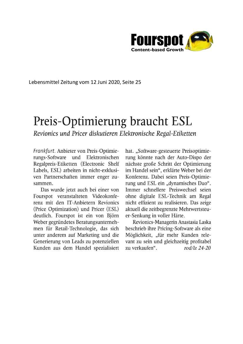 Pressebericht aus Lebensmittel Zeitung vom 12. Juni 2020