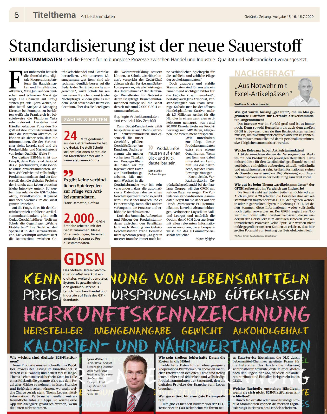 Pressebericht aus Getränke Zeitung vom 16. Juli 2020